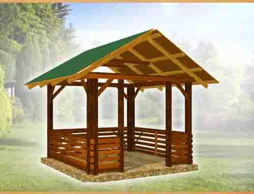 Как построить беседку с односкатной крышей из дерева